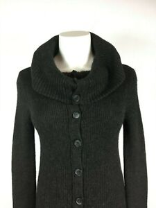 VINCE-Fabulous-charcoal-gray-ribbed-Baby-Alpaca-Blend-Cardigan-Sweater-Dress-M