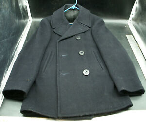 Large Mens USA Vintage Felted Wool Navy Blue Zippered Heavy Winter Coat