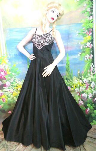 VINTAGE 1950 black TAFFETA Long DRESS beaded bodic
