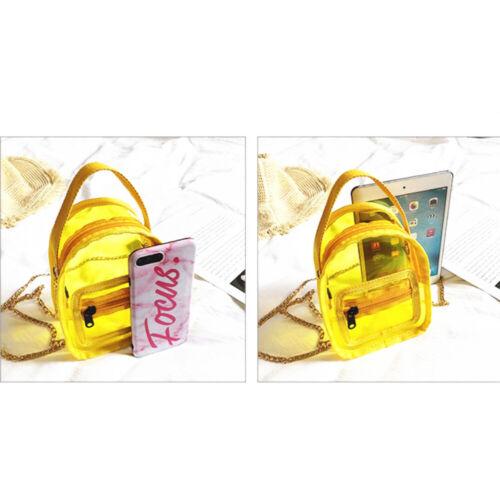 Women PVC Transparent Handbag Colorful Chain Bags Purses Clear Jelly Mini Phone