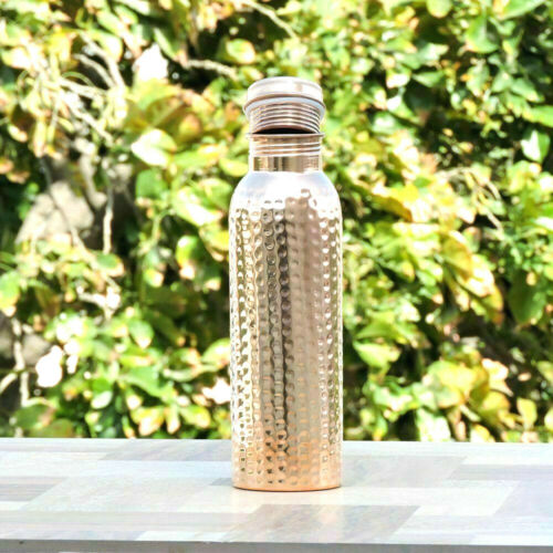 India Ayurveda Yoga Health Benefit Joint Free Hammered Copper Water Bottle Hand