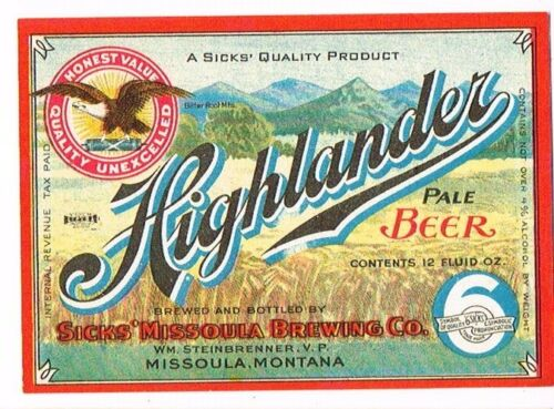Unused 1940s IRTP MONTANA Missoula Sicks HIGHLANDER PALE BEER 4% 12oz Label