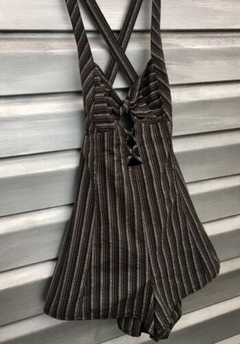 FREE PEOPLE Striped Cut Out Green Criss Cross Over
