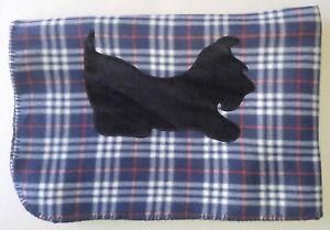 BLUE-PLAID-Scottie-AT-PLAY-Fleece-Blanket-Throw-Scottish-Terrier-Scotty-New