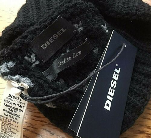 DIESEL BEANIE HAT /& SCARF SET WITH LOGO BOX MADE IN ITALY RETAIL €130