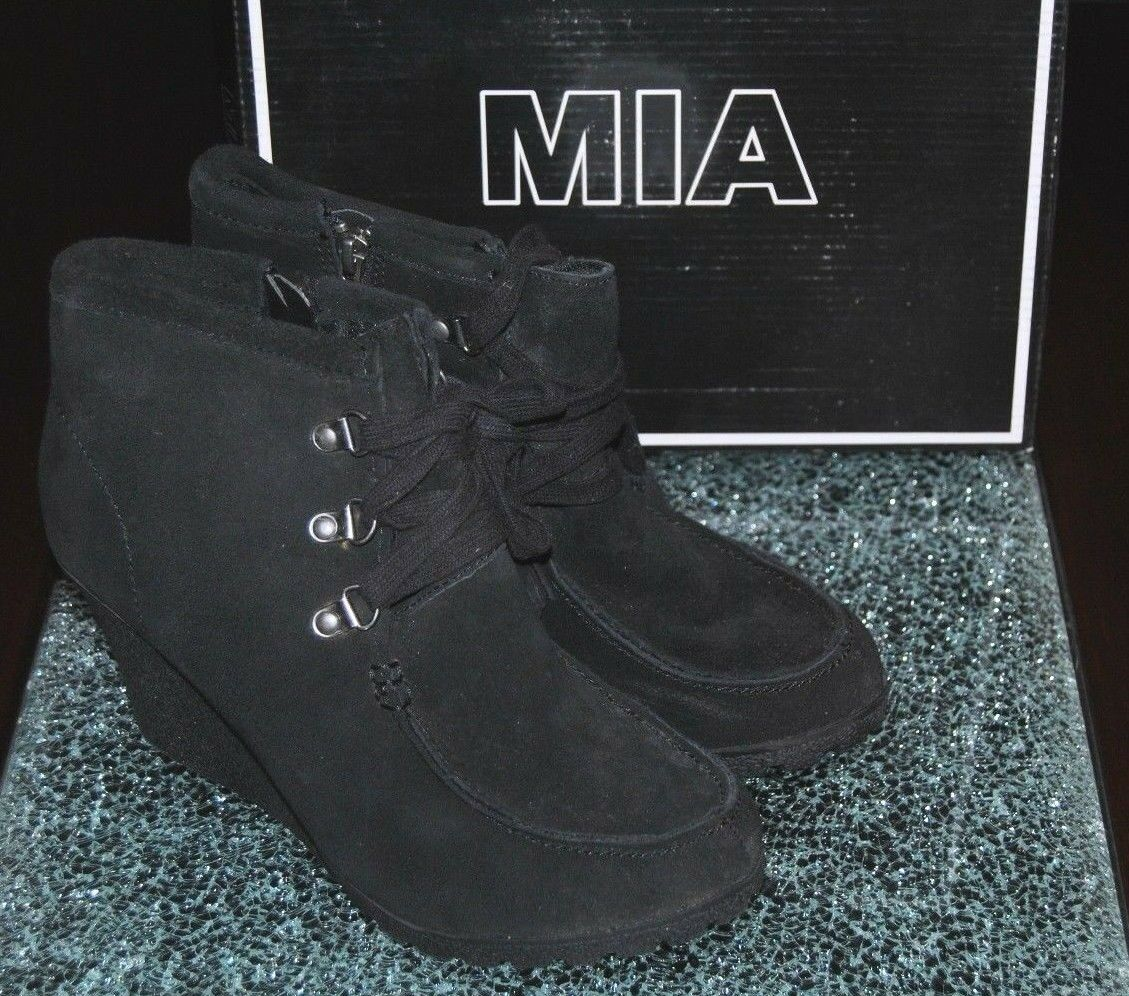 Women's Mia Brisk Black Suede Leather Wedge Lace Up, Zipper Side Boots, 9.5