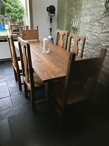 Shabby Chic Dining Table And 6 Wooden
