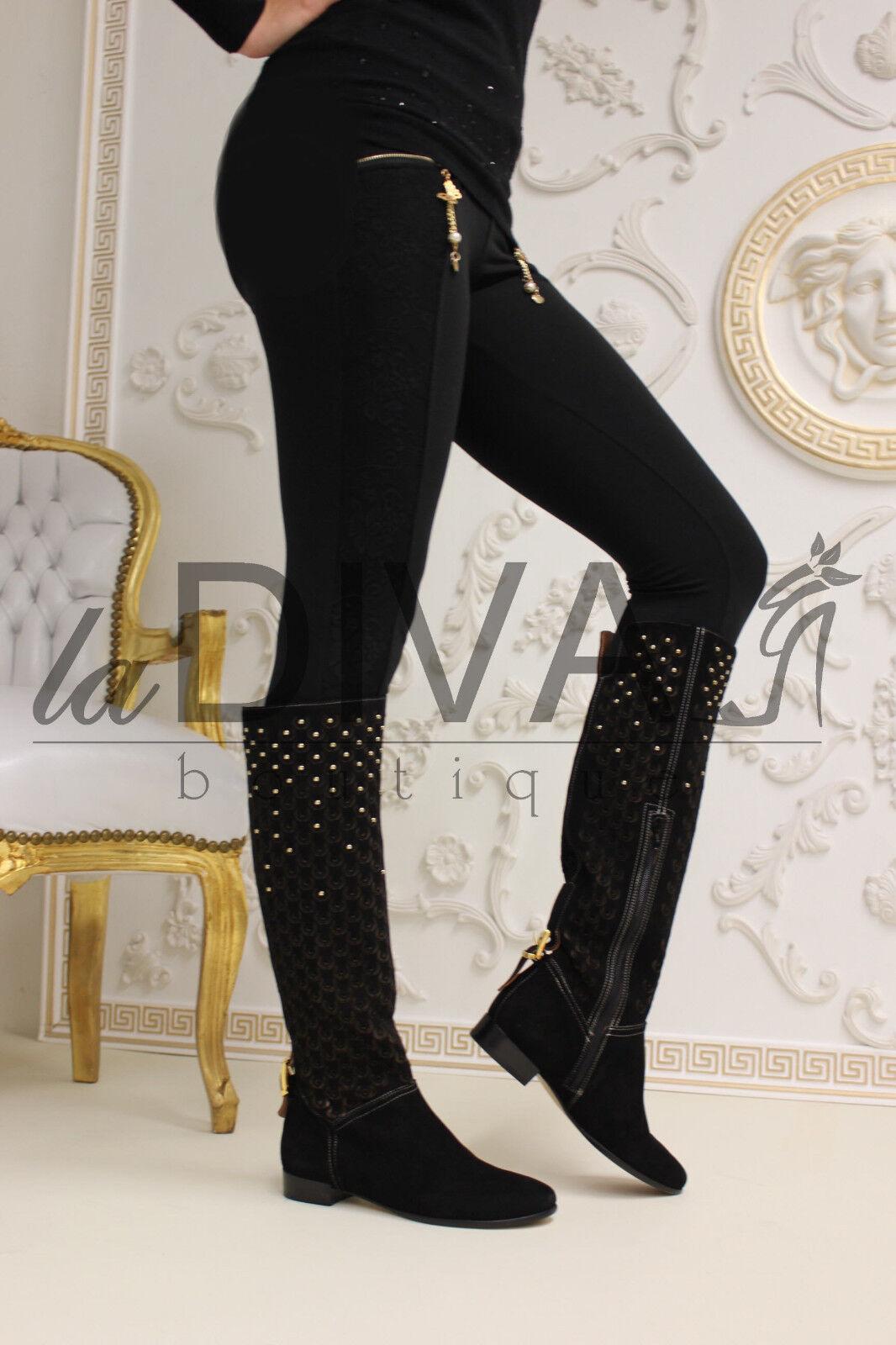 Napoleoni   Designer botas de gamuza 40 negro negro negro tachuelas láser cut cuero  disfrutando de sus compras