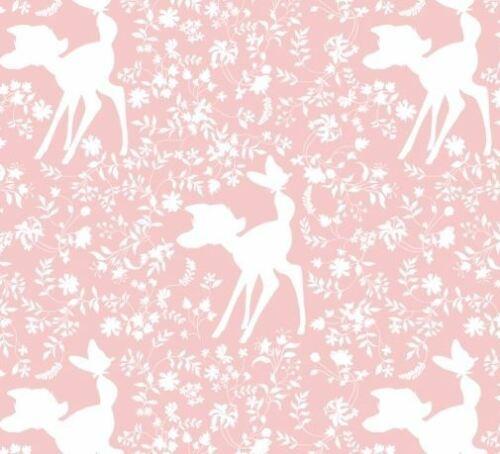 Bebé Rosa Disney Bambi Vivero de tela de algodón tapicería de acolchar Woodland