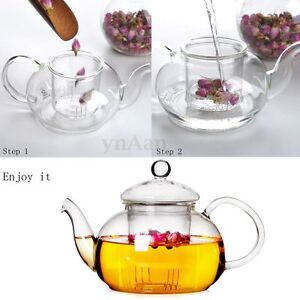 350ML-Heat-Resistant-Clear-Glass-Teapot-With-Infuser-Flower-Green-Black-Tea-Pot