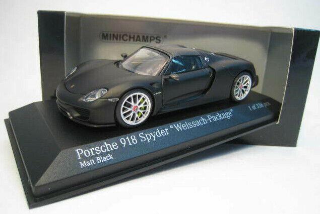 Porsche 918 Spyder  Weissach Package  negro mate limitado Minichamps 1 43 OVP