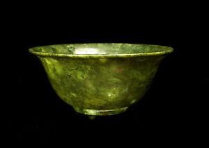 HonnêTe Bol En Jade épinard Chine Xviii-xix Fine China Bowl Spinach Jade 精美的玉器杯菠菜中