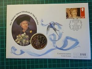 FIRST DAY COVER QUEENS 70TH BIRTHDAY GIBRALTAR  £5 COIN LIMITED EDITION