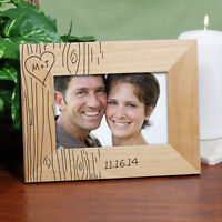Carved Initials Tree Personalized Couple Wood Picture Frame Valentine's Day Gift