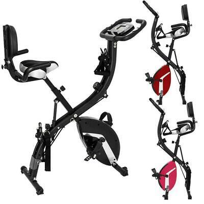 Folding Stationary Upright X-Shape Exercise Bike Workout Indoor Cycling Gym Pink