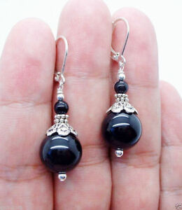 Handmade-6-12mm-Smooth-Black-Agate-Sterling-Earrings-Leverback