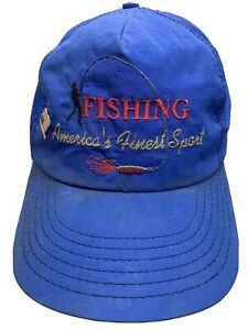 FISHING-America-039-s-Finest-Sport-VTG-Made-in-USA-Snapback-Adult-Cap-Hat