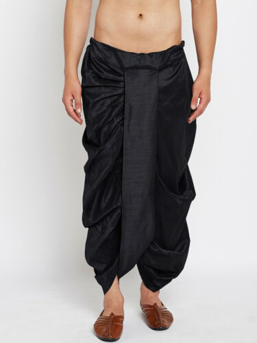 Men/'s Dhoti Style Traditional Wedding Dress Bollywood Black dupion Silk cotton