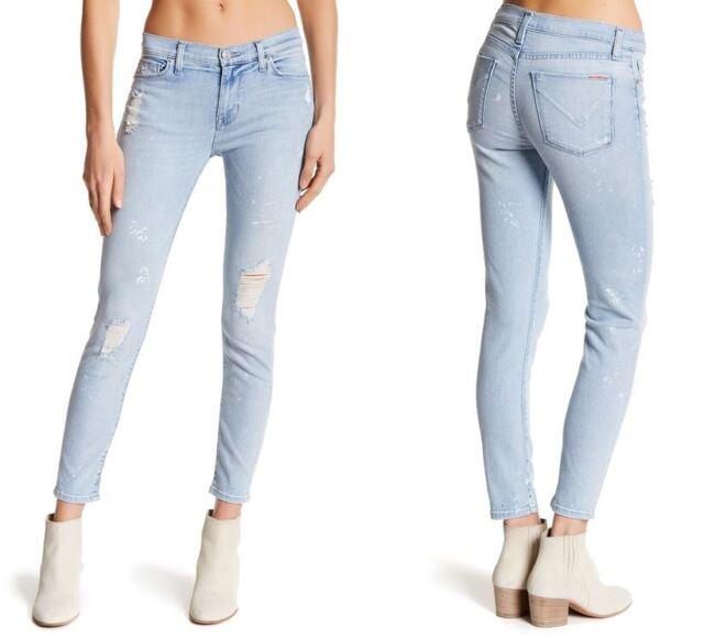 fa5a2941f96 Hudson Womens Nico Midrise Super Skinny Ankle Crop Jeans Sz 31 Distressed  NEW