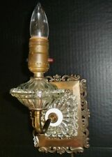 Vintage Wall Sconce Brass Glass light Antique