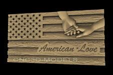 3d Stl Model For Cnc Router Artcam Aspire American Usa Love Hand Flag D622