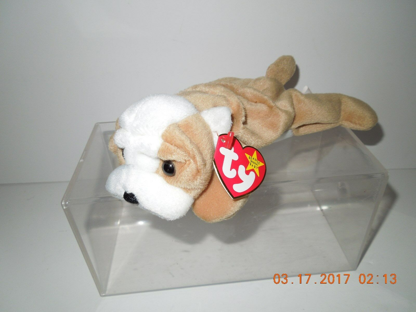 MNWT Retired Ty Wrinkles Sharpei Dog Beanie Baby DOB May 1, 1996