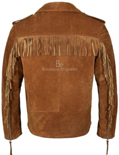 BRANDO FRINGE TAN Suede Jacket Men/'s Motorcycle STYLE REAL SOFT LEATHER MBF