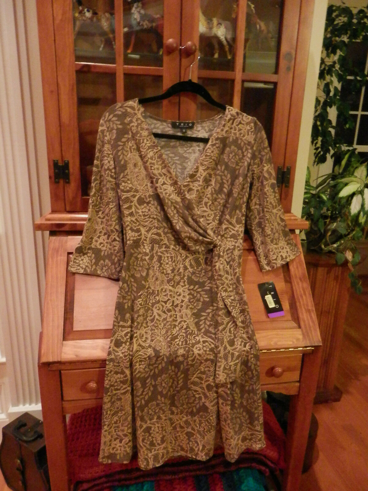 NWT TRIO New York Faux Wrap Dress Soft Browns Floral Wrap Bodice Size  Small