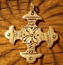 Moroccan hand engraved Tuareg cross medium pendant + dots