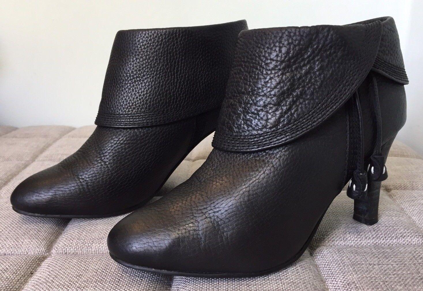 F-TROUPE Black Textured Leather Ankle Boots UK 7 EU 40 Tassels Mid Heel