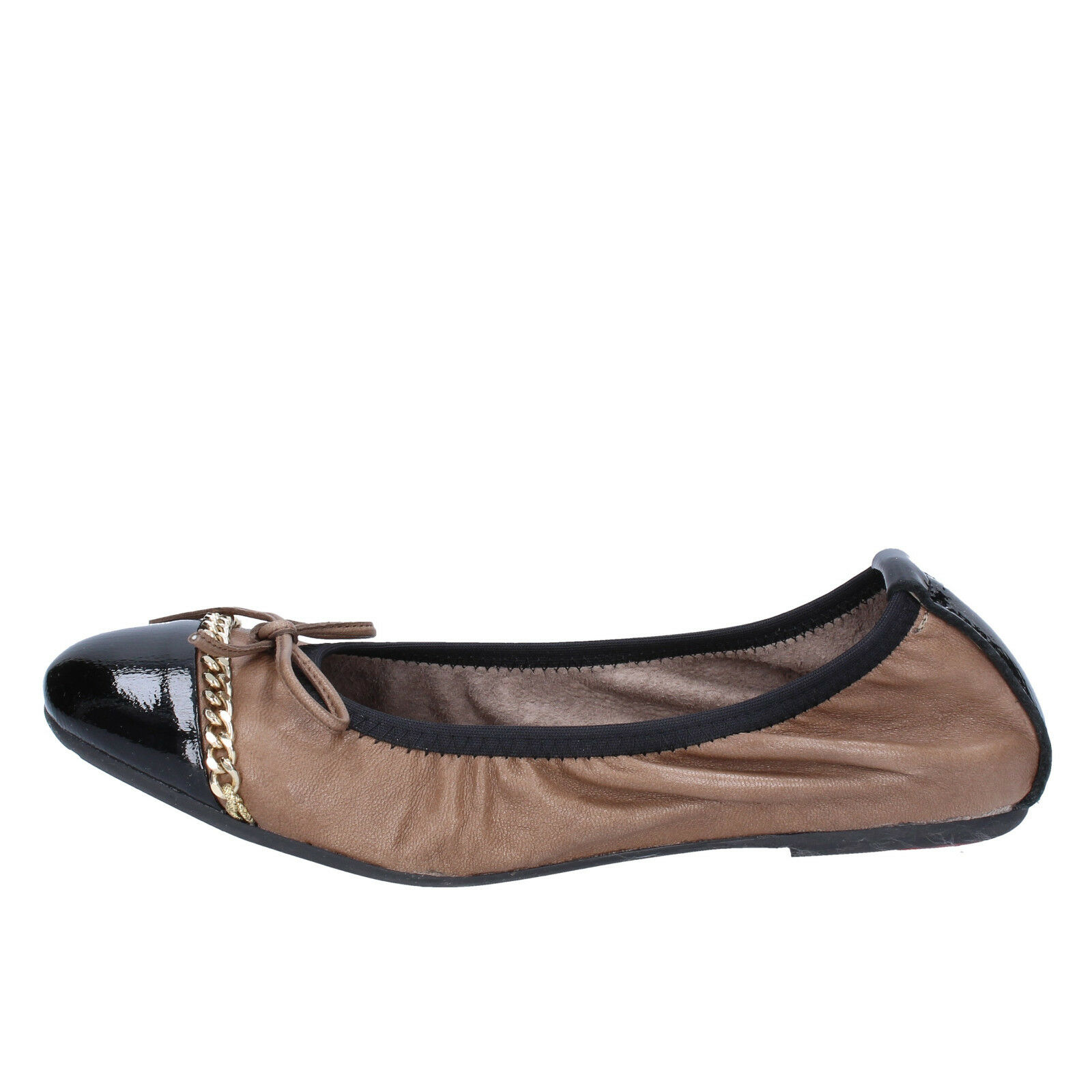 mujer zapatos CROWN 3 (EU 36) ballet flats negro beige leather BX641-36