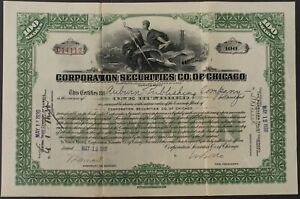 Stock-Certificate-CORPORATION-SECURITIES-CO-OF-CHICAGO-1930-Signed-100-Shares