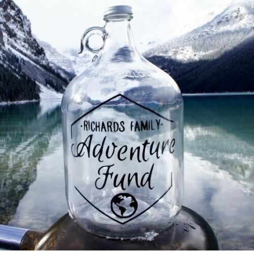 travel Travel Fund Jar Great wedding day /& anniversary gift! Personalized