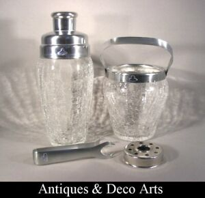 Vintage Stainless Steel & Craqueled Glass Cocktail Shaker & Ice Bucket by DeMeye