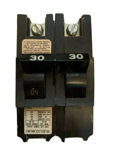 2 POLE BREAKER BLACK TESTED 30 AMP FEDERAL PACIFIC STAB LOK 30A FPE DOUBLE