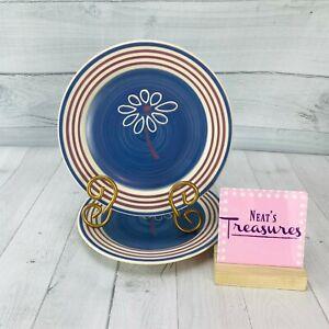 Pfaltzgraff-BAJA-Cream-Mauve-Band-Blue-Swirl-Stoneware-Salad-Lunch-Plates-Set-2