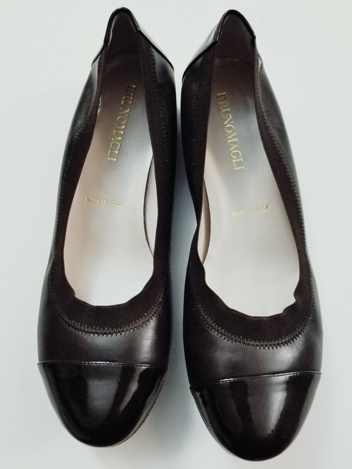 BRUNO MAGLI chaussures femme ballerines marron noir cuir verni SZ 37.5 US 7  349