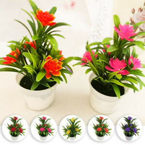 1x-Realistic-Artificial-Flowers-Plant-In-Pot-Outdoor-Home-Garden-Decoration-2019