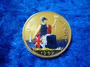Details about UK One Penny 1967 Gilded & Colourised