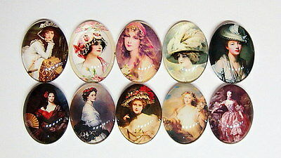 10 Vibrant Colors of 40x30 mm Glass Victorian Vintage Art Deco Women Cameos