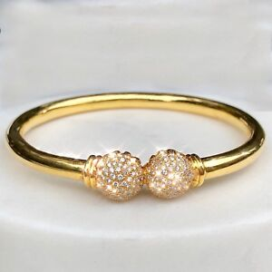cda9d4a3a Image is loading 18K-Yellow-Gold-Pave-Diamond-Spheres-Vintage-Bangle-