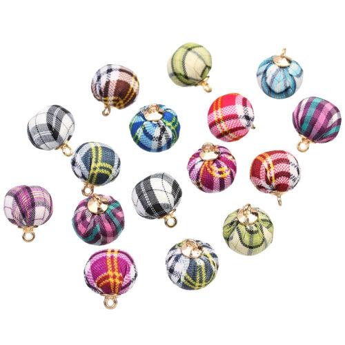 24pcs Stoff Ball Charms Perlen Anhänger für Armband Schlüsselanhänger