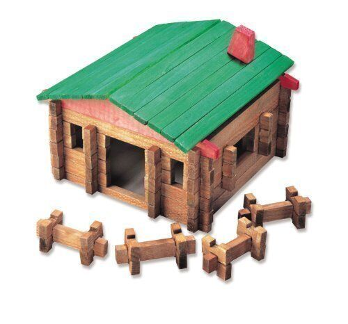 NEW Classic LOG Cabin Playset in Canister 140 Pcs FREE SHIPPING