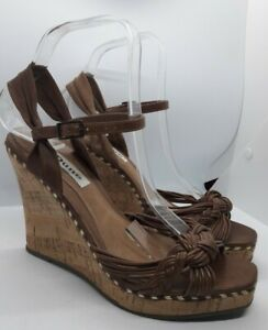 Dune-Tan-Brown-Leather-Cord-Strap-Sandal-Shoes-Size-5-UK-38-EU-High-Wedge
