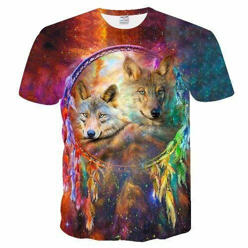 Personalized 3d Wolf T-shirt Cool Comfortable Short Sleeve Top O-nose