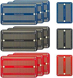 ElectroCookie Solderable Breadboard PCB Board Gold-Plated (9 Pack + 3 Mini)