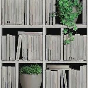 Papier Peint Livres Bibliotheque j40607 beige crème neutre livres bibliothèque ivy effet papier peint