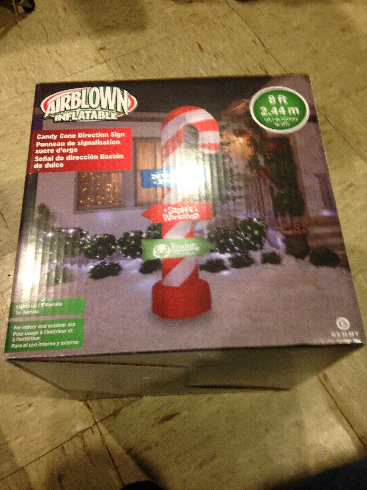 Sucre D Orge Exterieur 8-ft. gemmy directional candy cane airblown inflatable christmas yard pre  lit