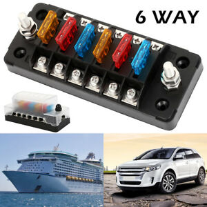 Details about 6 Way Fuse Box Circuit Standard Blade Block Holder For on car interior fuse box, vintage car fuse box, new car tail light, new car gas tank, new car tire, new car gas cap,