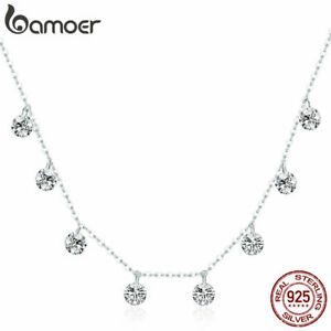 BAMOER-Real-S925-Sterling-Silver-Necklace-Simple-beauty-amp-CZ-For-Women-Jewelry